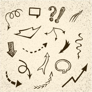 set of hand drawn arrows and speech bubbles on cardboard  background, vector illustration
